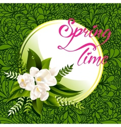 Fresh spring background with white flowers and vector