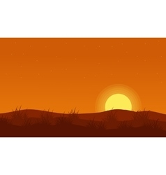 Grass on the hill orang background vector