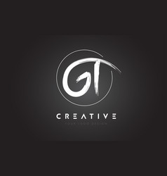 Gt brush letter logo design artistic handwritten vector