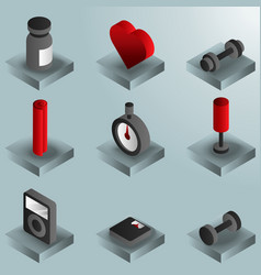 gym color gradient isometric icons vector image
