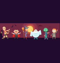 halloween kids children wear scary party costumes vector image