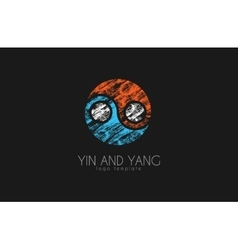 Hand drawn ying yang symbol harmony and balance vector