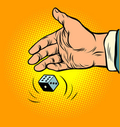 hand throws dice vector image