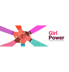 hands mix race group women putting together vector image