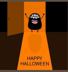 Happy halloween screaming monster silhouette vector