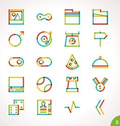 Highlighter line icons set 5 vector