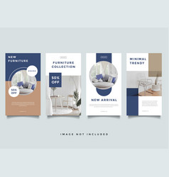 home interior instagram stories promotion template vector image