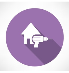 House and drill icon vector