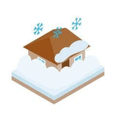 House covered with snow icon isometric 3d style vector image