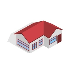 House with red roof icon isometric 3d style vector