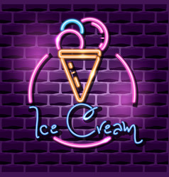 ice cream neon advertising sign vector image