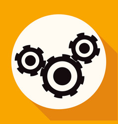 icon cogs on white circle with a long shadow vector image