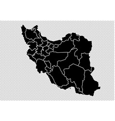 iran map - high detailed black map with vector image