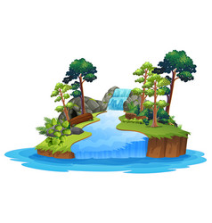 isolated nature waterfall on white background vector image
