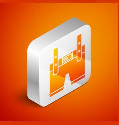 Isometric lederhosen icon isolated on orange vector