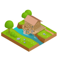 isometric wooden water mill working watermill vector image