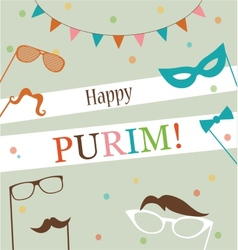 Jewish holiday Purim hipster greeting card design vector