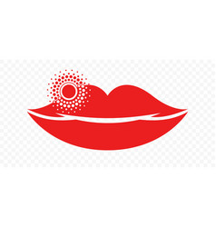 Lips herpes cold sore inflammation icon labial vector