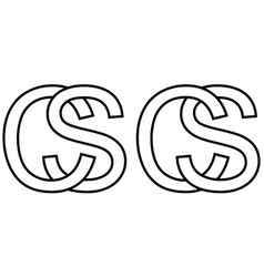 Logo sign sc cs icon sign two interlaced letters s vector