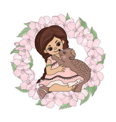Love bear girl sakura wreath animal vector