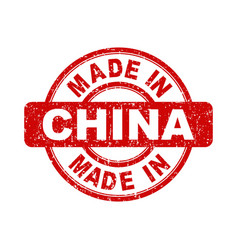 made in china red stamp on white background vector image