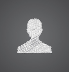 male profile sketch logo doodle icon vector image