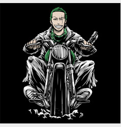 Man riding a retro motorcycle hand drawing vector