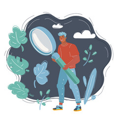 Man with big magnifying glass looking for vector