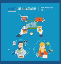 marketing shopping start up financial strategy vector image
