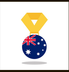 medal with the australia flag isolated on white vector image