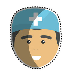 Medical man doctor with surgical cap vector