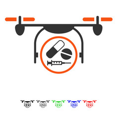 Medication quadcopter flat icon vector
