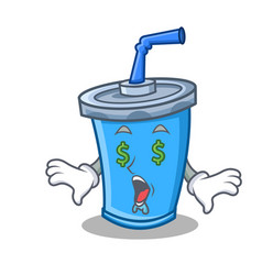 Money eye soda drink character cartoon vector