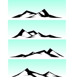 Mountain ridge in black and white on blue vector