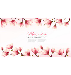 Nature flower frame with pink magnolia vector