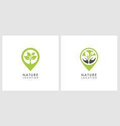 nature leaf location logo design vector image