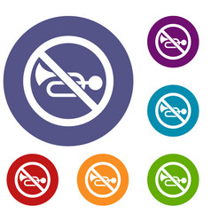 No horn traffic sign icons set vector