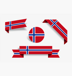 Norwegian flag stickers and labels vector