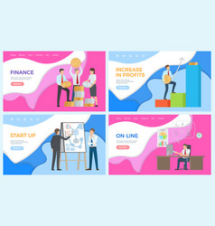 Online business working man financial level up vector
