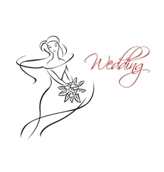Outline silhouette of bride with flowers vector image