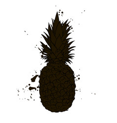 pineapple silhouette black and white vector image