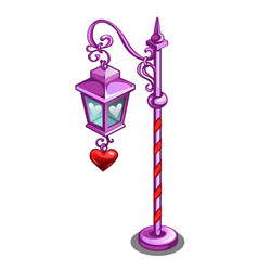 pink street lamp with a pendant in the shape of a vector image