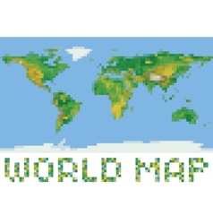 Pixel art style world physical map with green and vector