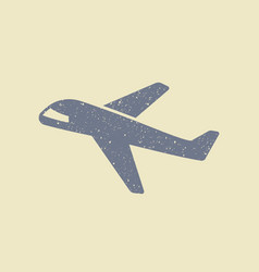 plane icon in grunge style vector image