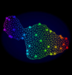 Polygonal carcass color mesh map of maui island vector