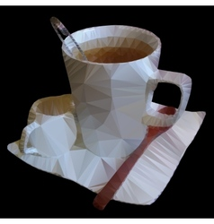 Polygonal mosaic of teacup vector