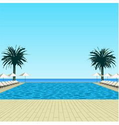 Pool palms and sky vector