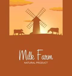 Poster milk farm natural product rural landscape vector