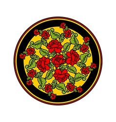 Russian national pattern painting Hohloma Round vector image