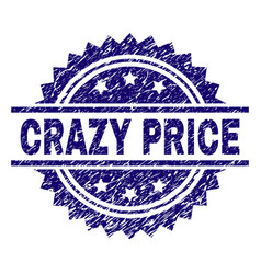 Scratched textured crazy price stamp seal vector
